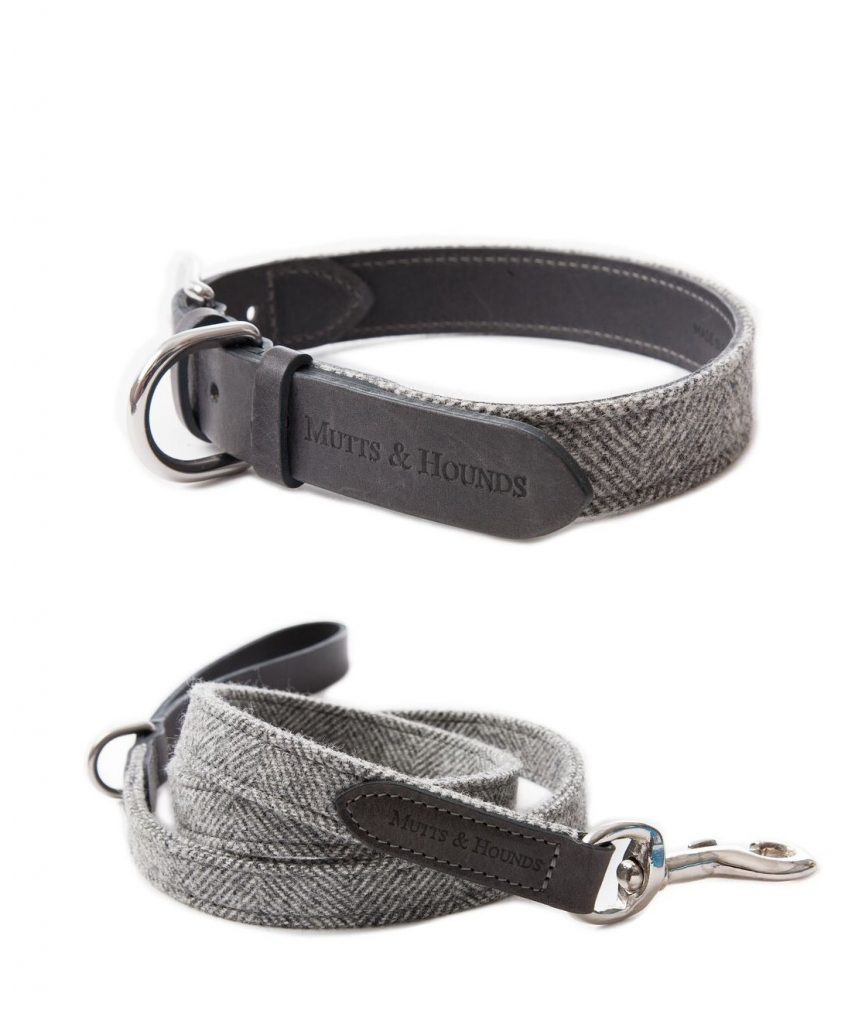 tweed and leather dog collar and lead