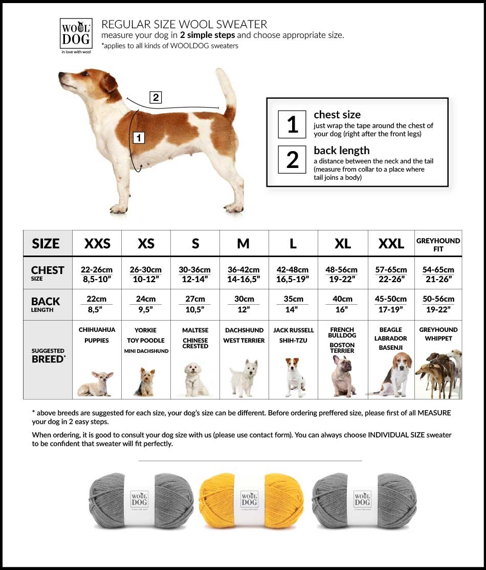 Wooldog Luxury Dog Jumper Size Chart
