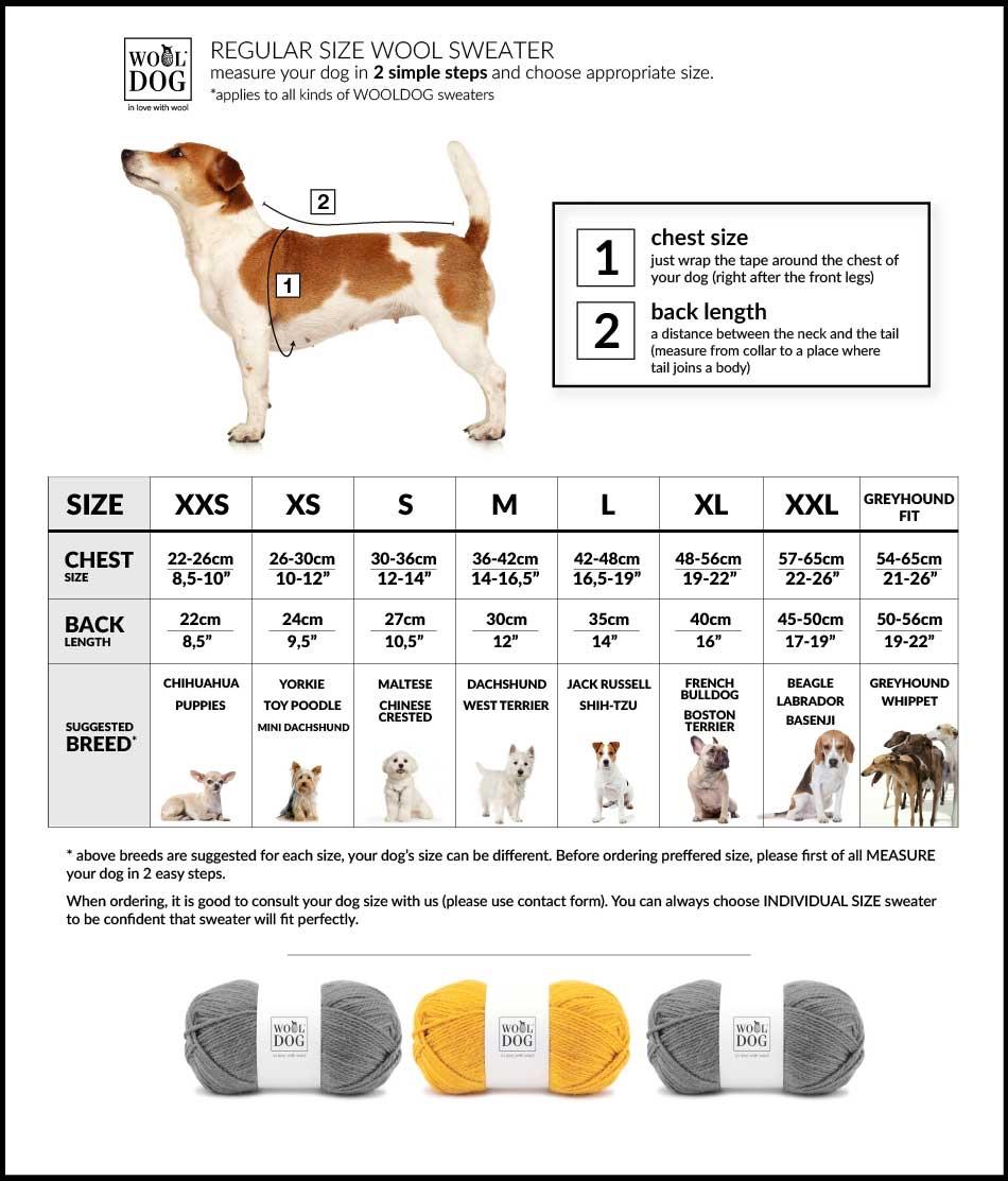 Wooldog Luxury Dog Jumper Size Chart