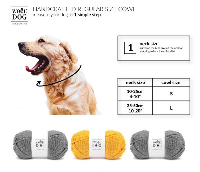 Wooldog Luxury Dog Neck Cowl Size Chart