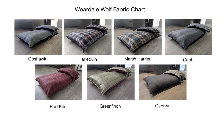 Weardale Wolf Fabrics Chart Luxury Dog Beds