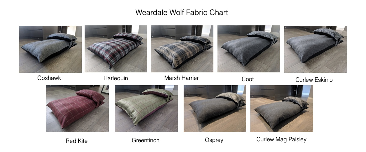 Weardale Wolf Fabrics Chart Luxury Dog Beds