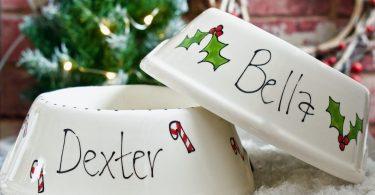 christmas dog bowls