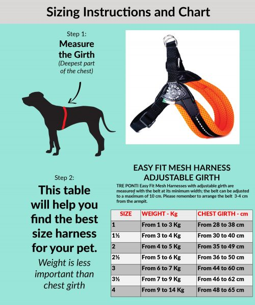 Tre Ponti Dog Harness Size Guide