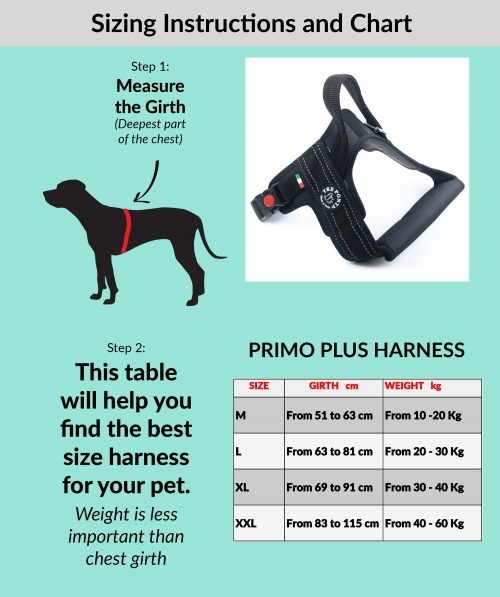 Tre Ponti Large Dog Harness Size Guide