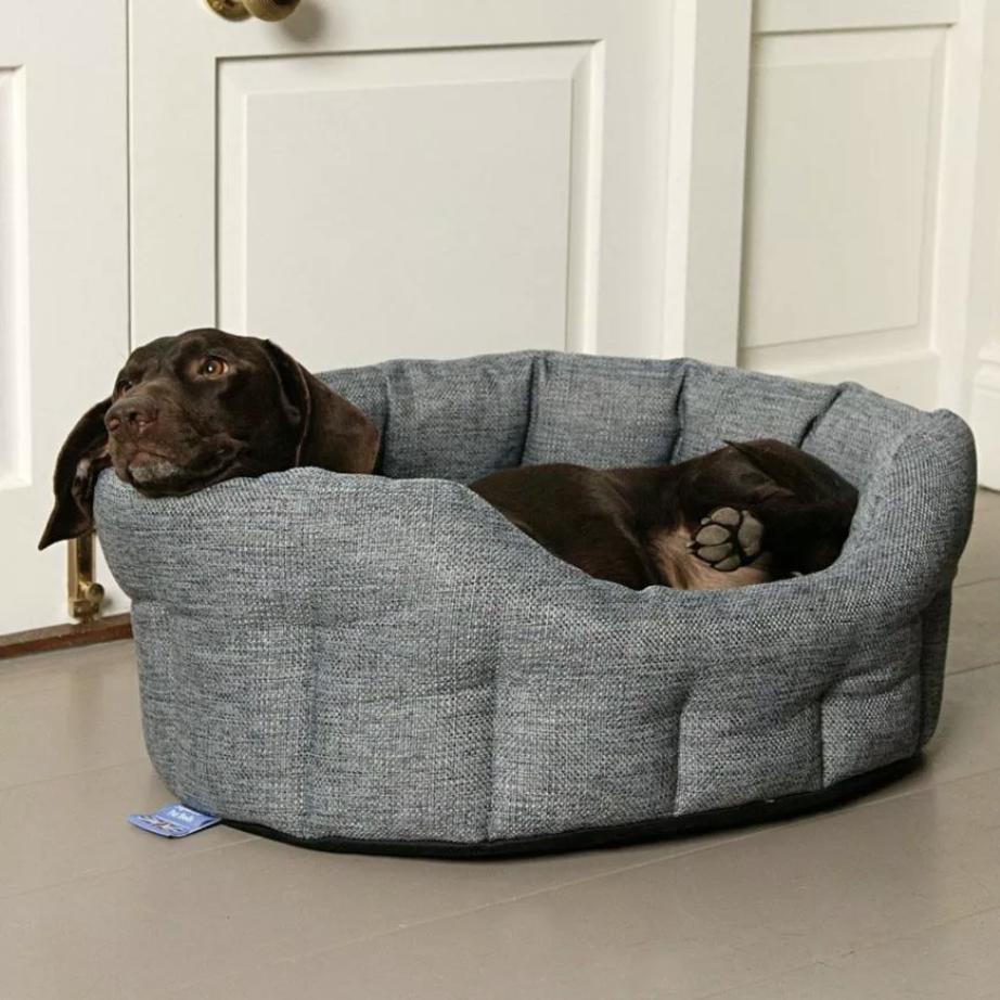 GREY BASKET WEAVE SOFTEE DOG BED