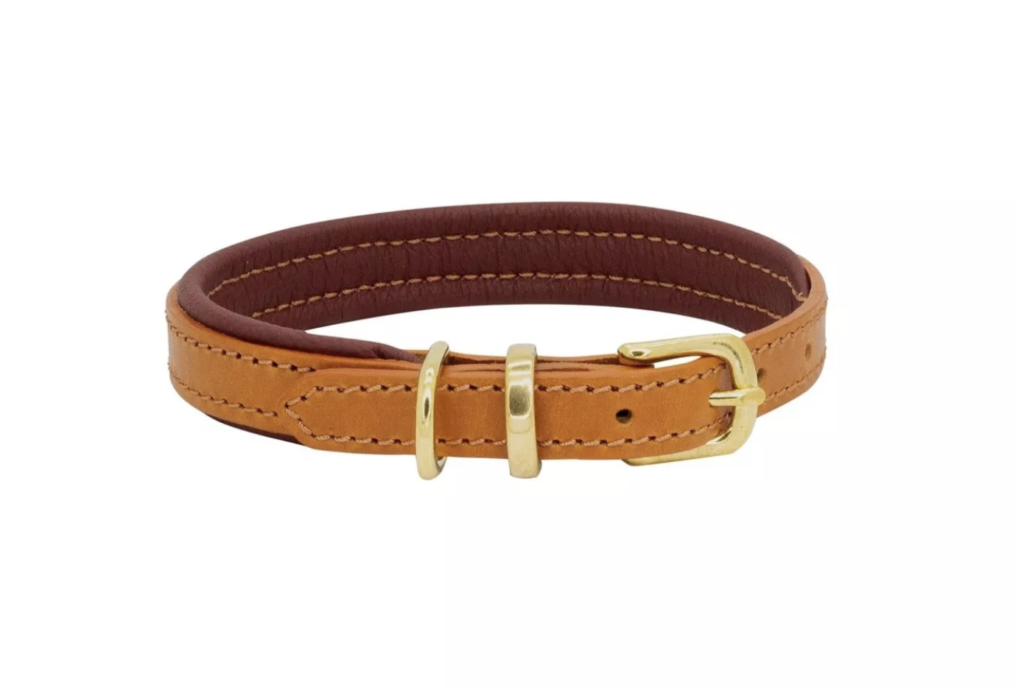 LUXURY PADDED LEATHER COLLAR TAN & BURGUNDY BY DOGS & HORSES