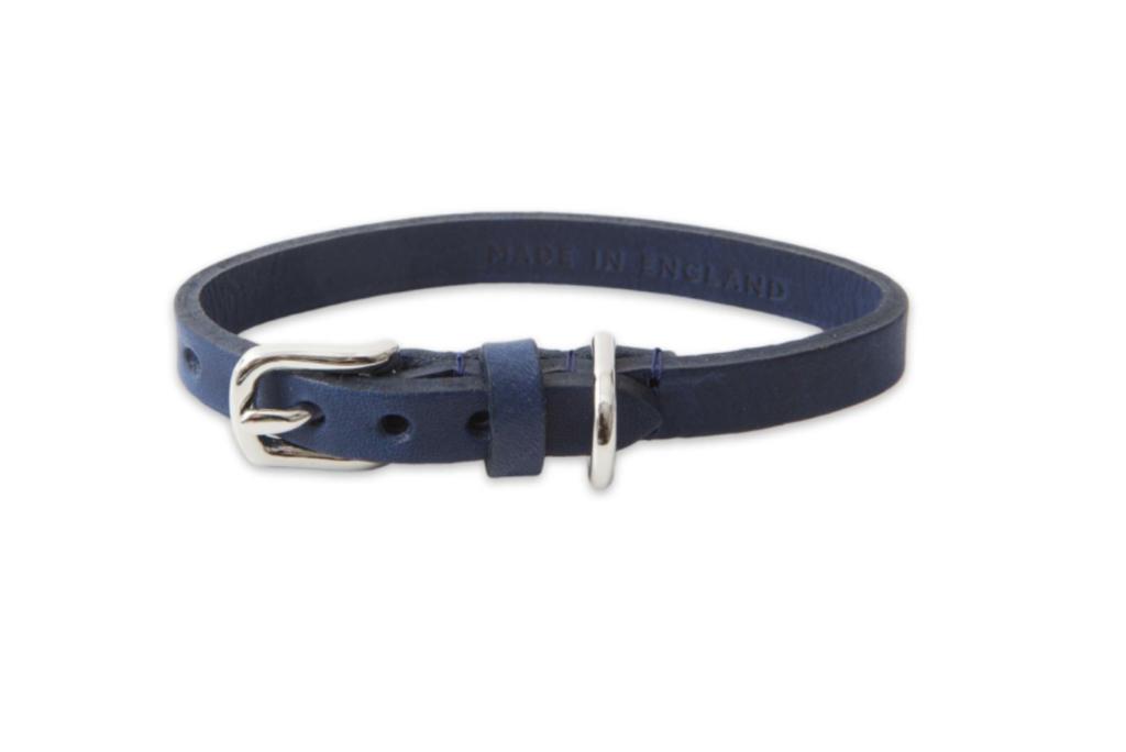 MAYFAIR LEATHER TOY DOG COLLAR BLUE