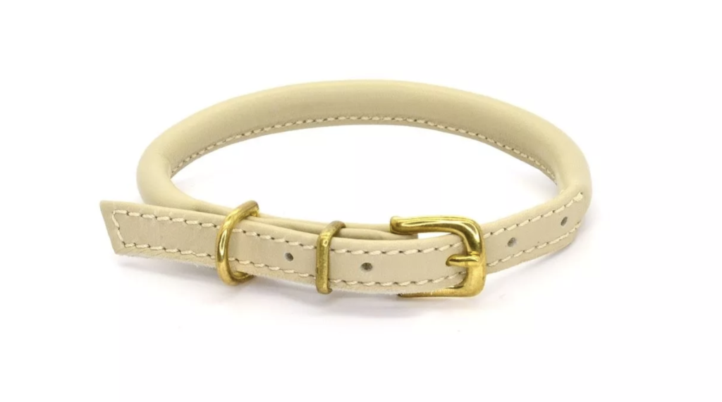 DOGS & HORSES ROLLED LEATHER DOG COLLAR CREAM
