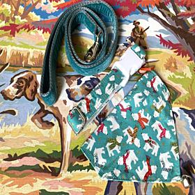 Christmas Mistletoe Dog Collar with Velvet Lining, Bandana and Velvet Lead
