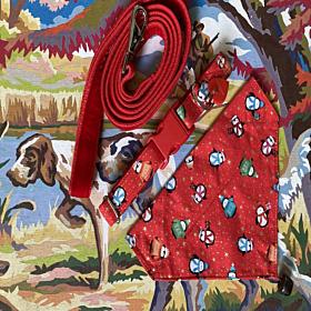 Jolly Penguins Christmas Dog Collar, Bandana and Velvet Lead Set