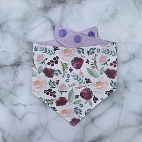 Lilac Flower Reversible Dog Bandana - Can Be Personalised | Poppy Luna Love