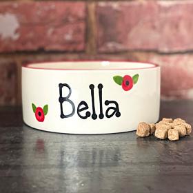 Personalised Poppy Design Dog Bowls | Handmade Dog Bowls UK