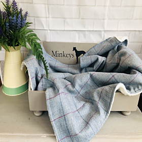 Pippy Blue Tweed Luxury Dog Blanket | Minkeys Tweed