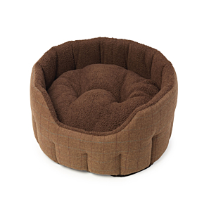 Brown Tweed Oval Snuggle Dog Bed by House of Paws