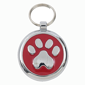 Luxury Red Paw Print Designer Dog Tag