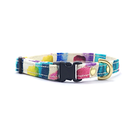 Multicoloured Miniature Dog Collar With Solid Brass Hardware   Noggins and Binkles