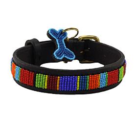 Digo Beaded Leather Dog Collar