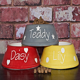 Personalised Ceramic Slanted Polka Dots Dog Bowls Hearts, Stars Chelsea Dogs