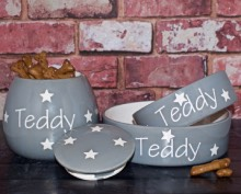 Luxury Ceramic Dog Bowls and Treat Jars Personalised