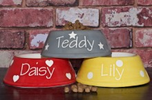 Luxury Ceramic Spaniel Dog Bowls Personalised